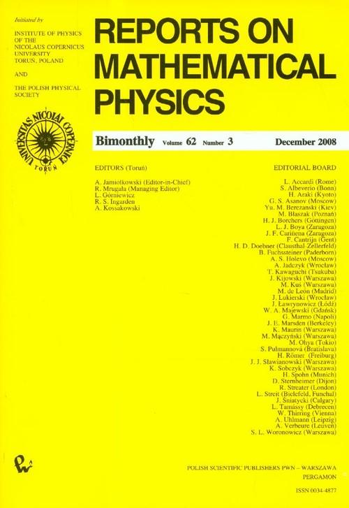 Reports on Mathematical Physics 62/3 2008 - brak