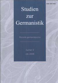 Studien zur Germanistyk Rocznik germanistyczny 2 - brak