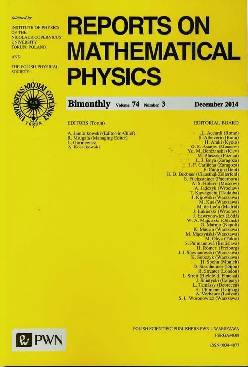 Reports on Mathematical Physics 74/3 2014 - brak