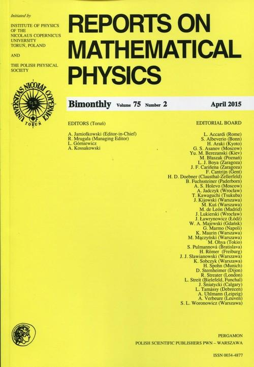 Reports on Mathematical Physics 75/2 2015 Pergamon - brak