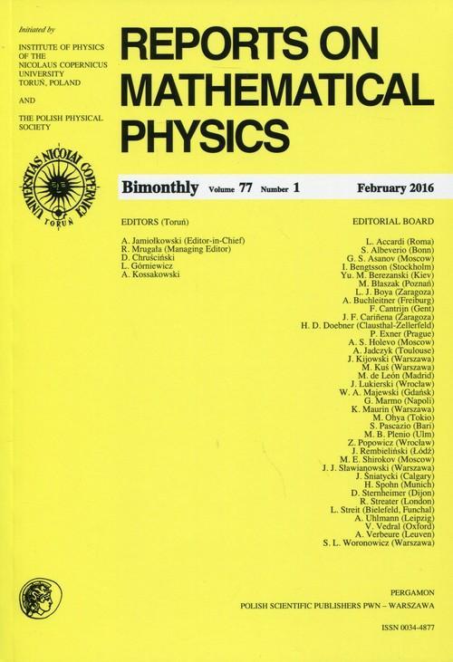 Reports on Mathematical Physics 77/1 2016 Pergamon - brak