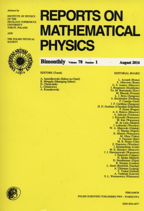 Reports on Mathematical Physics 78/1 2016 - brak